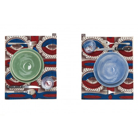 Individual Placemat Flower Blue-Red