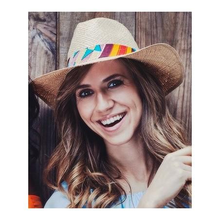 Sombrero de paja Cuadrados Amarillo-Rojo-Marrón