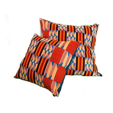 Small Squared Cushion Cover Yellow-Red-Brown Squares