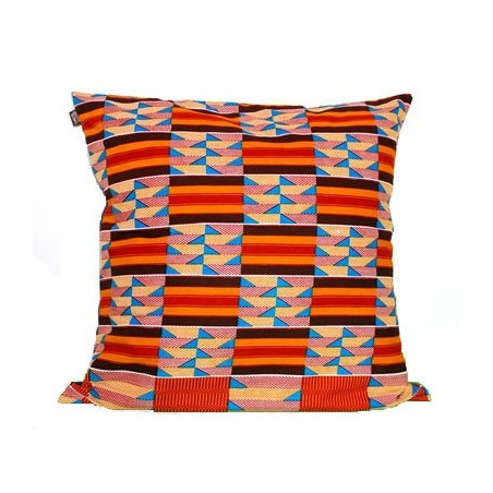 Large Anna Cushion Cover Yellow-Red-Brown Squares