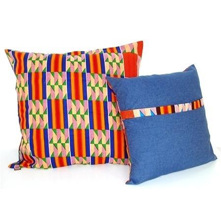Large ANNA Cushion Cover Denim Quadrats Groc-Vermell-Blau