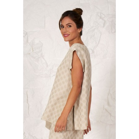 Beige linen and cotton moon printed blouse.