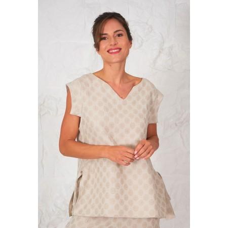 Blusa Peeters beige de estampado lunar de lino y algodón.