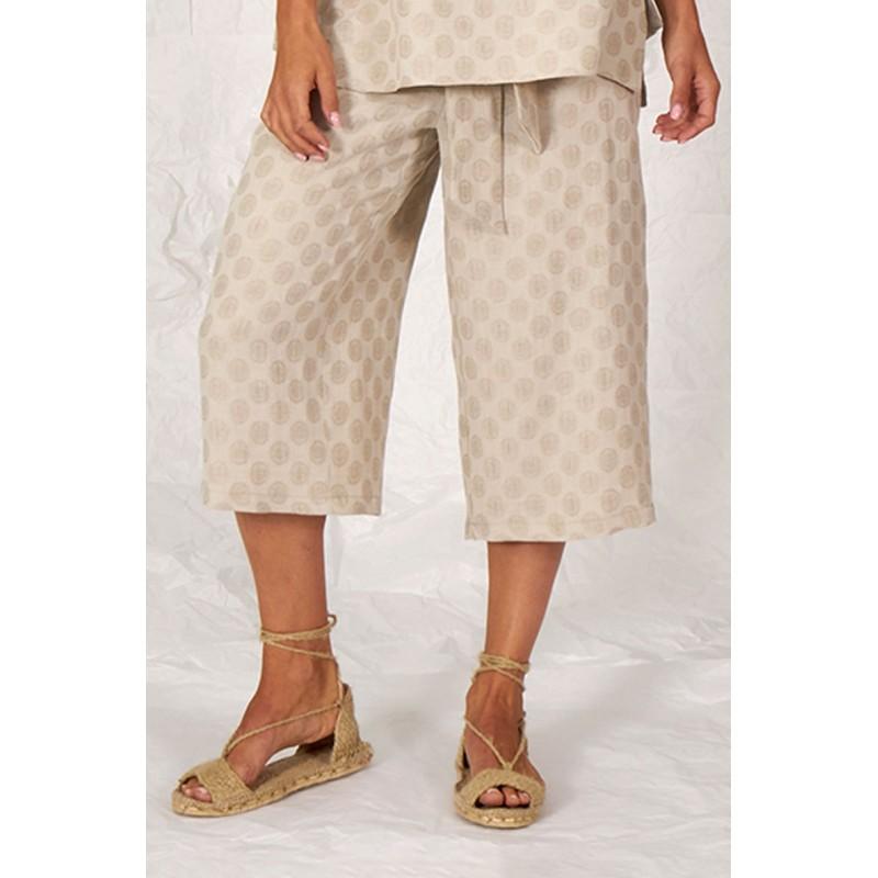 Pantalón pirata palazzo beige Orsola de lino y algodón de estampado lunar.