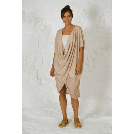 Beige long knit cardigan Cabellut.