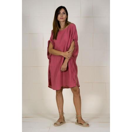 Vestido granate rosado de lino.
