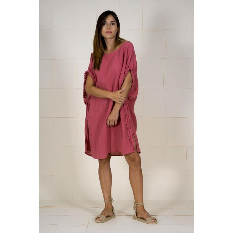 Vestit brusó granat rosat Brown de lli amb màniga caiguda.