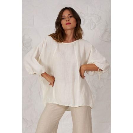 Beige linen blouse Sofonisba.