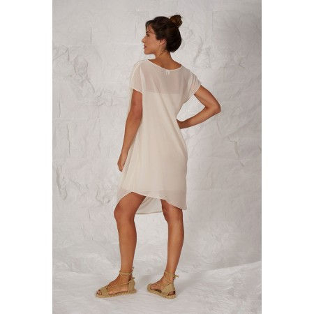 Beige dress Dumas, draped on the shoulder with an interior bandeau.