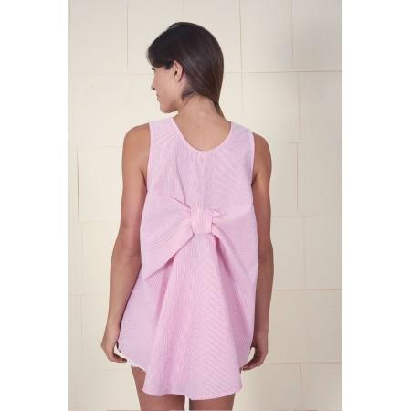 Blusa sin mangas 100% algodón estampado en mil rayas rosas y blancas con espalda en forma de lazo.