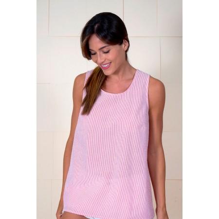 Blusa sin mangas 100% algodón de estampado mil rayas rosas y blancas.