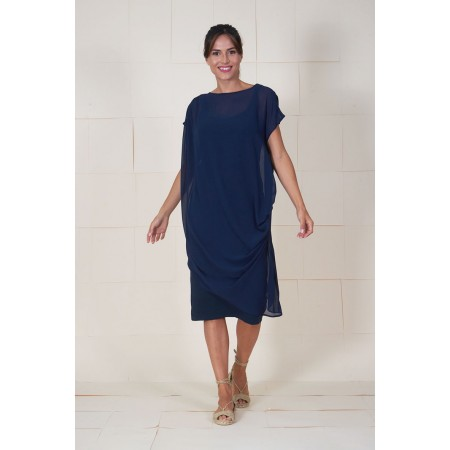 Blue dress Dumas draped on the shoulder with an interior bandeau.