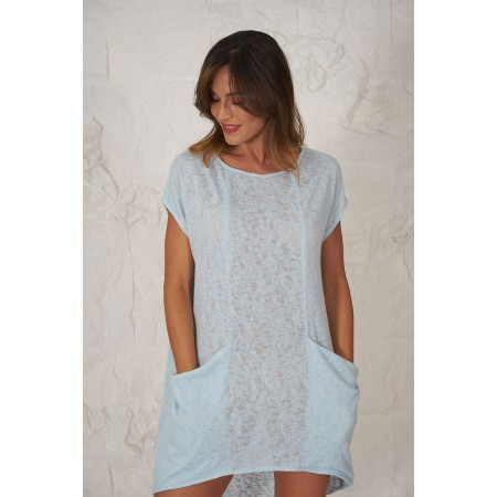 Blue knit short-sleeved sweater with dropped pockets