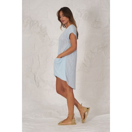 Blue knit short-sleeved sweater with dropped pockets and asymmetrical length.