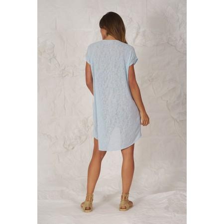 Jersey azul claro de punto de manga corta y largo asimétrico Forner