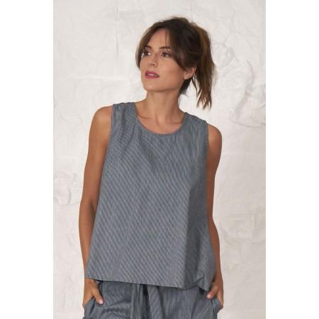 Blue striped 100% cotton sleeveless blouse.