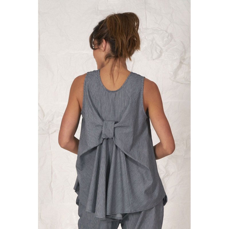 Blue striped 100% cotton sleeveless blouse with a back lace.