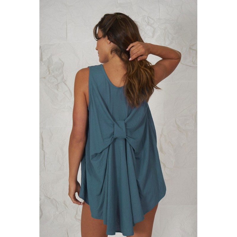 Blue knit sleeveless blouse with a back lace.