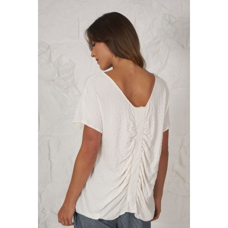 Camiseta Kathe cruda de manga caída con tira fruncida en la espalda.