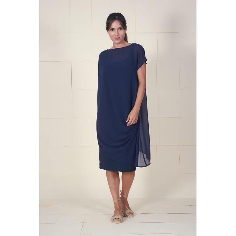 Vestido Dumas azul drapeado en hombro y lateral con bandeau interior.