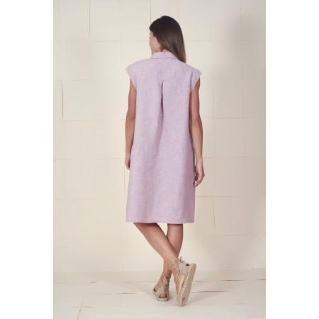 Parte de atrás del vestido camisero 100% lino de Dona Kolors.