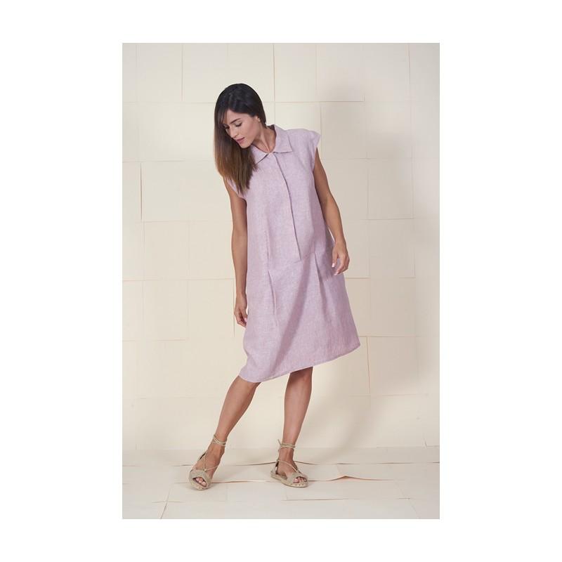 Vestido rosa palo de lino Fontana.
