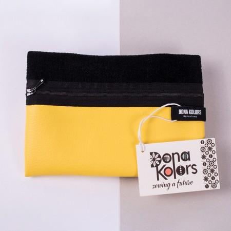 Necesser rectangular groc i negre