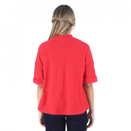Jaqueta vermella de punt i màniga curta