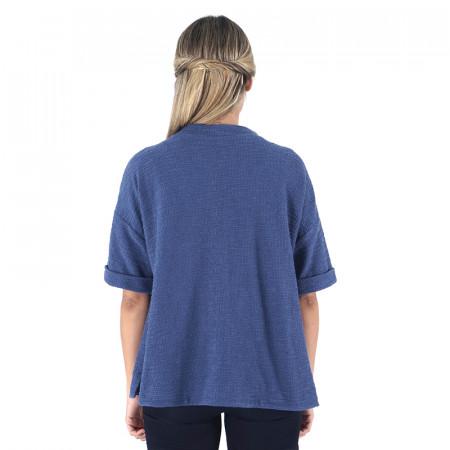 Jaqueta blava de cotó rústic i màniga curta