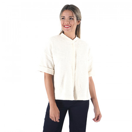 Raw rustic cotton short sleeve jacket Dona Kolors