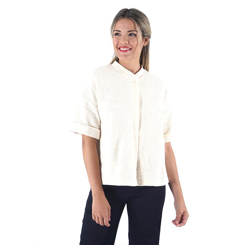 Raw rustic cotton short sleeve jacket Dona Kolors