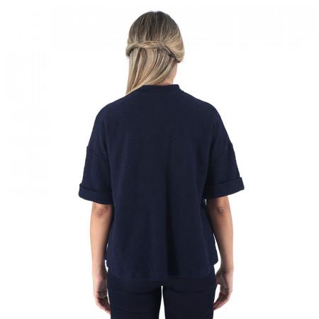 Jaqueta blau marí de cotó rústic i màniga curta