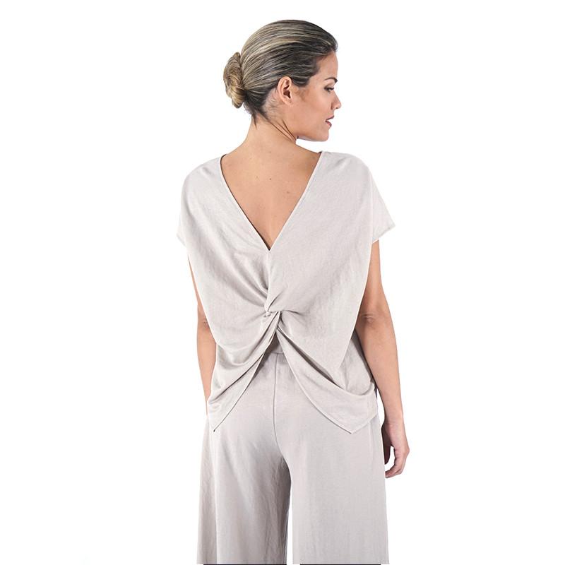 Beige knit short sleeve top