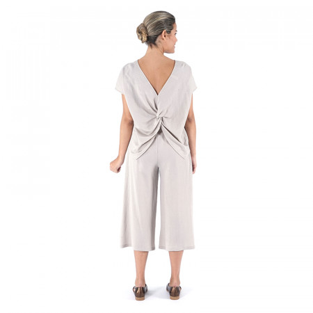Beige knit top and palazzo pants Dona Kolors, also in blue navy