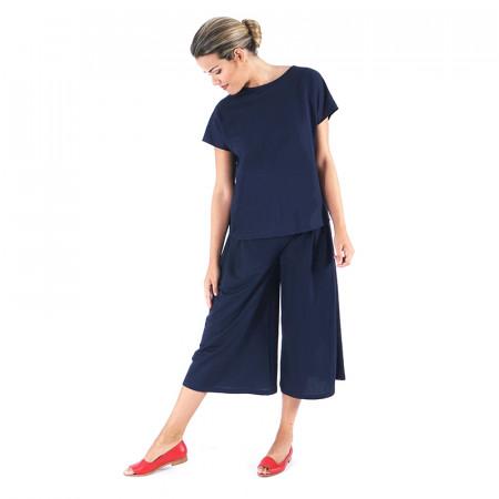 Blue navy knit top and palazzo pants