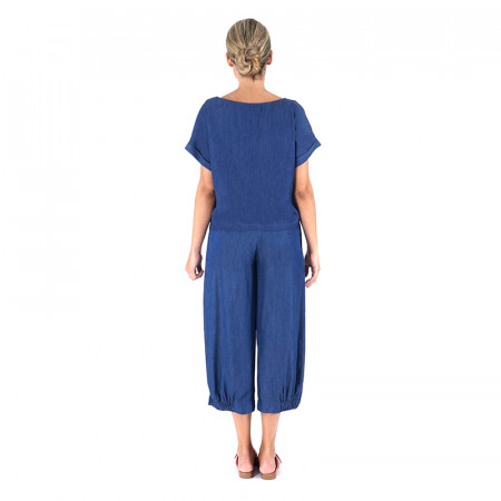 Conjunto de blusa mil rayas azules y pantalón corsario Dona Kolors
