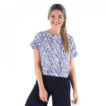 Blue animal print blouse...