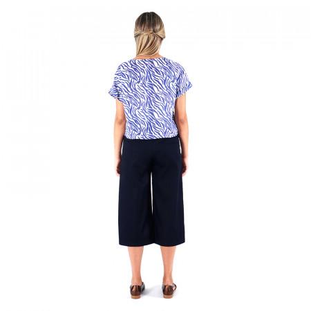 Blusa zebra azul y pantalón tejano palazzo Dona Kolors