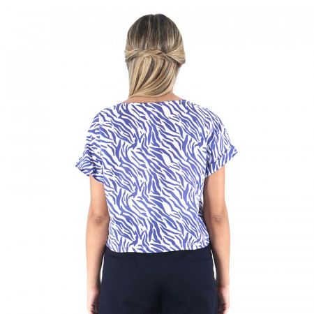 Brusa zebra blava amb màniga caiguda
