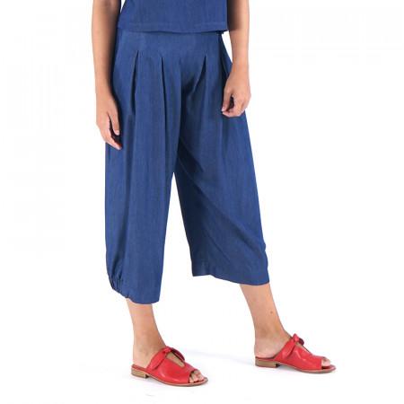 Pantalón corsario tencel mil rayas azules