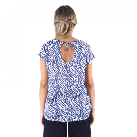 Blusa 100% viscosa estampada zebra azul con espalda en pico