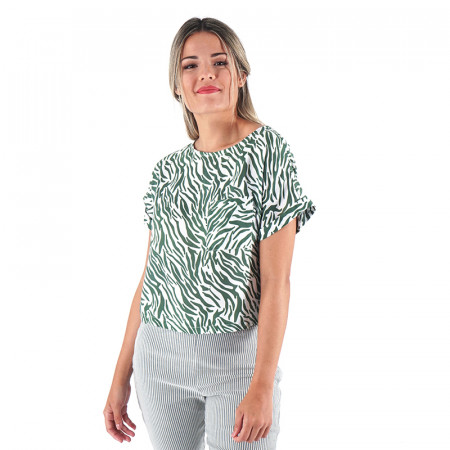 Green animal print blouse...