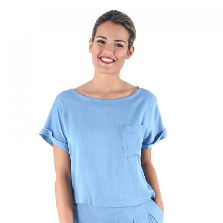 Blusa lyocell azul claro
