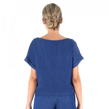 Blusa a rayas azules/azul marino con manga corta caída