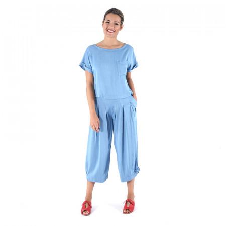 Conjunt de brusa lyocell i pantaló corsari tencel blau clar Dona Kolors