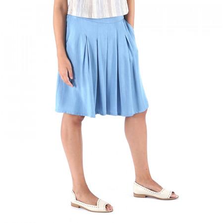 Pantalón bermuda tencel azul claro
