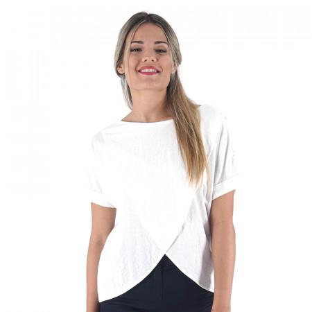 Camiseta cruzada blanca de punto
