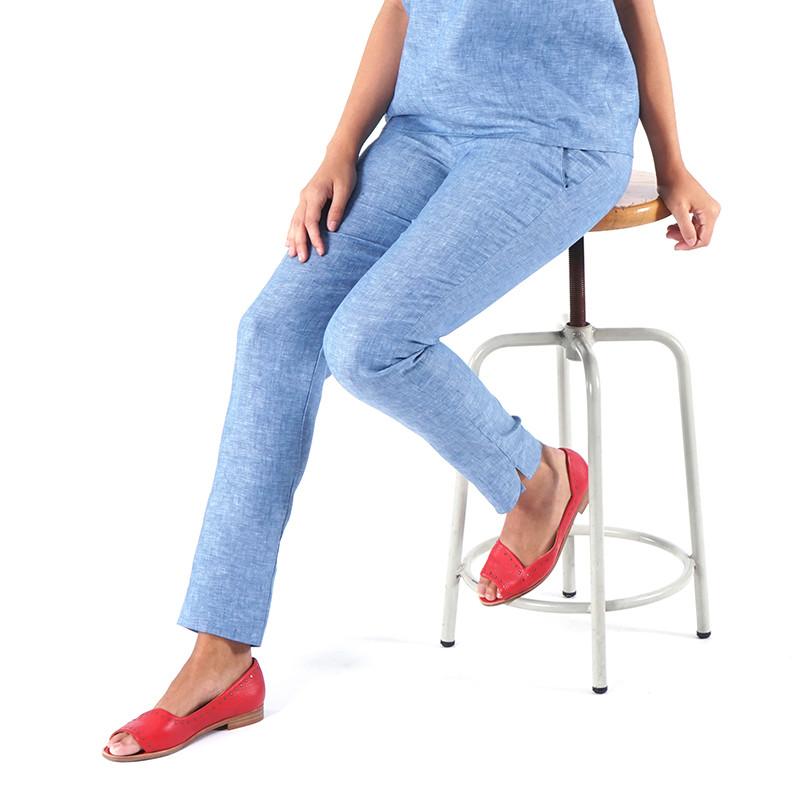 Pantalón de lino índigo Dona Kolors