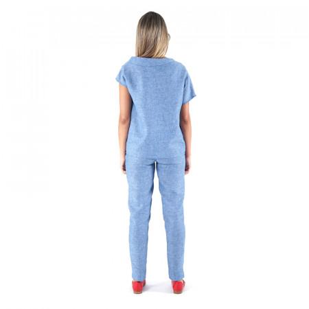 Blusa 100% lino verdoso/índigo y pantalón 100% lino verdoso/índigo