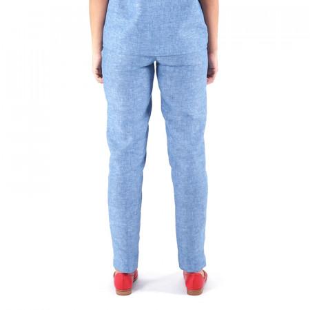 Pantalón de lino verdoso/índigo